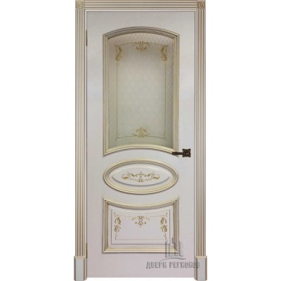 Дверь RegiDoors Багет-3 ДО Эмаль Слоновая кость с золотой патиной