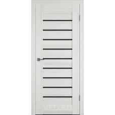 Дверь ВФД Line Л3ПГ5  Беленый дуб стекло ультра черное
