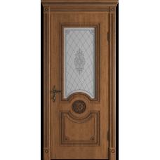 Дверь ВФД Classic Art Greta Honey Classic с патиной стекло сатин. белое