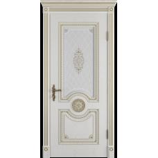 Дверь ВФД Classic Art Greta Bianco Classic с золотой патиной стекло сатин. белое