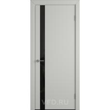Дверь эмаль ВФД Stockgolm Ньюта1 69ДО02 эмаль светло-серая стекло черный лакобель