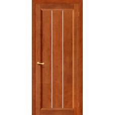 Дверь массив сосны BRAVO ViLARIO Вега-19 ДО Т-31 Темный орех со стеклом Кризет