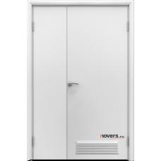 Дверь пластиковая Aquadoor (Аквадор) Белый двустворчатая с вентиляционной решеткой