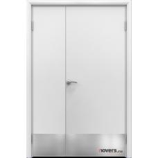 Дверь пластиковая Aquadoor (Аквадор) Белый двустворчатая с отбойными пластинами