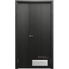Дверь пластиковая Aquadoor (Аквадор) Дуб венге двустворчатая с вентиляционной решеткой