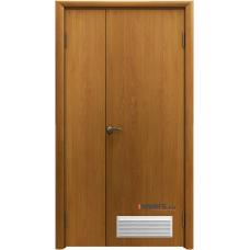 Дверь пластиковая Aquadoor Миланский орех двустворчатая с вентиляционной решеткой