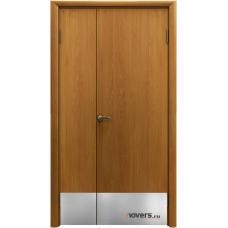 Дверь пластиковая Aquadoor Миланский орех двустворчатая с отбойными пластинами