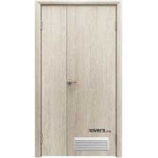 Дверь пластиковая Aquadoor Скандинавский дуб двустворчатая с вентиляционной решеткой