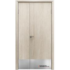 Дверь пластиковая Aquadoor Скандинавский дуб двустворчатая с отбойными пластинами