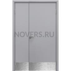 Дверь пластиковая Aquadoor (Аквадор) Серый RAL 7035 двустворчатая с отбойной пластиной