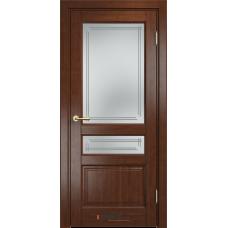 Дверь комбинированный массив Арсенал Мадера Микс Ол 85 ДОФ Коньяк со стеклом матовым