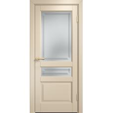 Белорусская дверь комбинированный массив Арсенал Мадера Микс Ол 85 ДОФ Слоновая кость со стеклом матовым