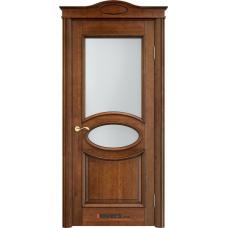 Дверь массив ольхи Арсенал Мадера Ол 26 ДОФ Коньяк с патиной со стеклом матовым