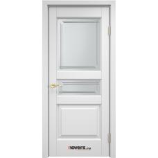 Дверь массив ольхи Арсенал Мадера Ол 5 ДОФ Эмаль белая со стеклом матовым 5/4