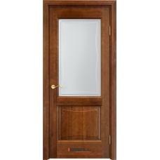 Дверь массив ольхи Арсенал Мадера Ол 6/2 ДОФ Коньяк со стеклом матовым