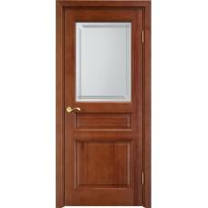 Дверь массив сосны Арсенал Мадера 5ш ДОФ Коньяк со стеклом матовым 5/4