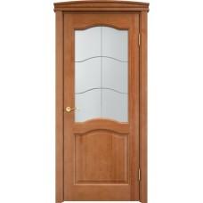 Дверь массив сосны Арсенал Мадера 7ш ДОФ Орех 10% со стеклом матовым 7/1