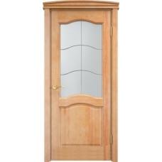 Дверь массив сосны Арсенал Мадера 7ш ДОФ Орех 5% со стеклом матовым 7/1