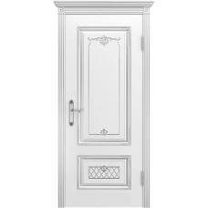 Дверь эмаль Двери-А Аккорд ДГ Эмаль белая патина серебро