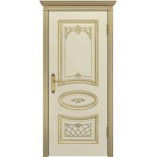Дверь эмаль Двери-А Ария ДГ Эмаль слоновая кость патина золото