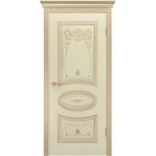 Дверь эмаль Двери-А Ария Корона ДГ Эмаль слоновая кость патина золото