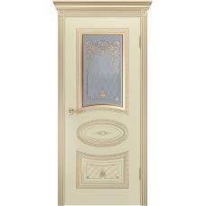 Дверь эмаль Двери-А Ария Корона ДО Эмаль слоновая кость патина золото