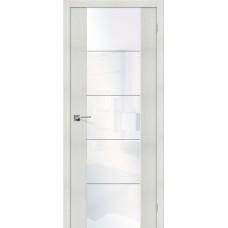 Дверь экошпон BRAVO el'PORTA V4 ДО Bianco Veralinga со стеклом White Waltz