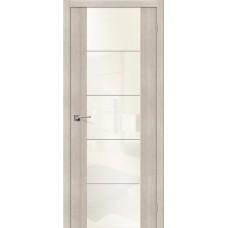 Дверь экошпон BRAVO el'PORTA V4 ДО Cappuccino Veralinga со стеклом White Pearl