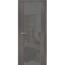 Дверь экошпон BRAVO el'PORTA V4 ДО Grey Veralinga со стеклом Smoke