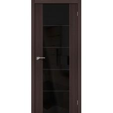 Дверь экошпон BRAVO el'PORTA V4 ДО Wenge Veralinga со стеклом Black Star