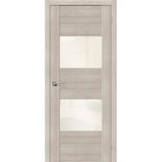 Дверь экошпон BRAVO el'PORTA VG2 ДО Cappuccino Veralinga со стеклом White Pearl