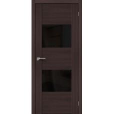 Дверь экошпон BRAVO el'PORTA VG2 ДО Wenge Veralinga со стеклом Black Star