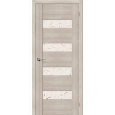 Дверь экошпон BRAVO el'PORTA VM4 ДО Cappuccino Veralinga со стеклом Silver Art