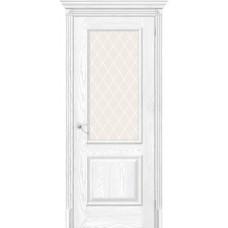 Дверь экошпон BRAVO el'PORTA Классико-13 ДО Silver Ash со стеклом White Crystal