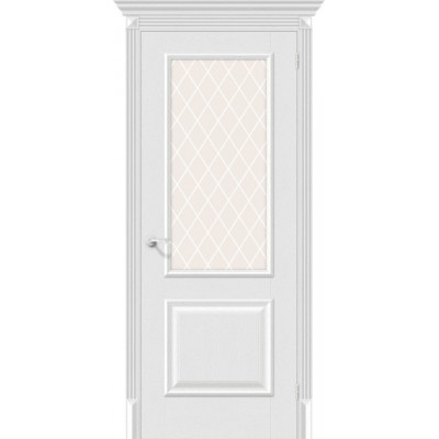 Дверь экошпон BRAVO el'PORTA Классико-13 ДО Virgin со стеклом White Crystal