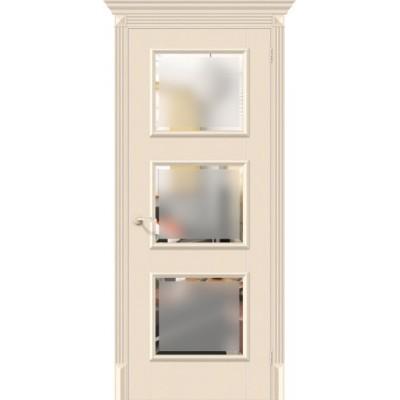Дверь экошпон BRAVO El'Porta Классико-17.3 ДО Ivory со стеклом Magic Fog