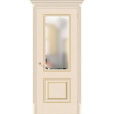 Дверь экошпон BRAVO el'PORTA Классико-33G-27 ДО Ivory со стеклом Magic Fog