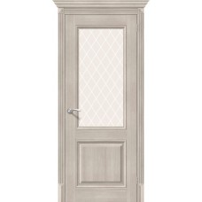 Дверь экошпон BRAVO el'PORTA Классико-33 ДО Cappuccino Veralinga со стеклом White Crystal