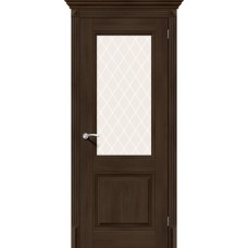 Дверь экошпон BRAVO el'PORTA Классико-33 ДО Dark Oak со стеклом White Crystal
