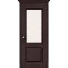 Дверь экошпон BRAVO el'PORTA Классико-33 ДО Wenge Veralinga со стеклом White Crystal