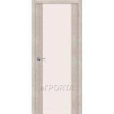 Дверь экошпон BRAVO el'PORTA Порта-13 ДО Cappuccino Veralinga со стеклом Magic Fog