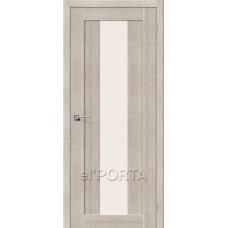 Дверь экошпон BRAVO el'PORTA Порта-25 alu ДО Cappuccino Veralinga со стеклом Magic Fog