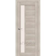 Дверь экошпон BRAVO el'PORTA Порта-27 ДО Cappuccino Veralinga со стеклом Magic Fog