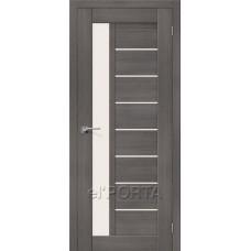 Дверь экошпон BRAVO el'PORTA Порта-27 ДО Grey Veralinga со стеклом Magic Fog