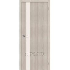 Дверь экошпон BRAVO el'PORTA Порта-11 ДО Cappuccino Veralinga со стеклом Magic Fog