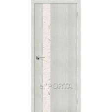 Дверь экошпон BRAVO el'PORTA Порта-51 ДО Bianco Crosscut со стеклом Silver Art