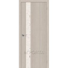Дверь экошпон BRAVO el'PORTA Порта-51 ДО Cappuccino Crosscut со стеклом Silver Art