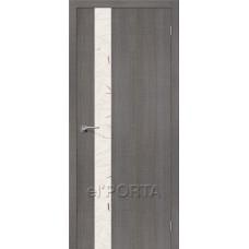 Дверь экошпон BRAVO el'PORTA Порта-51 ДО Grey Crosscut со стеклом Silver Art