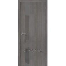 Дверь экошпон BRAVO el'PORTA Порта-51 ДО Grey Crosscut со стеклом Smoke