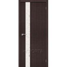 Дверь экошпон BRAVO el'PORTA Порта-51 ДО Wenge Crosscut со стеклом Silver Art
